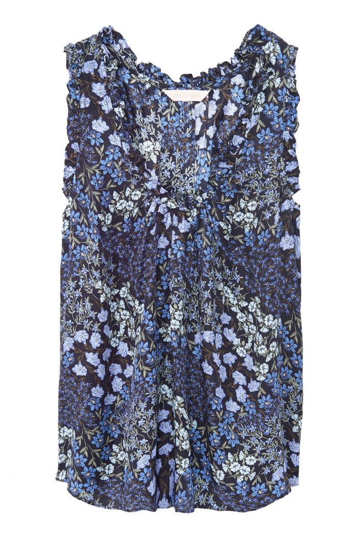 Rebecca Taylor Ava ruffle tank navy floral silk sleeveless blouse
