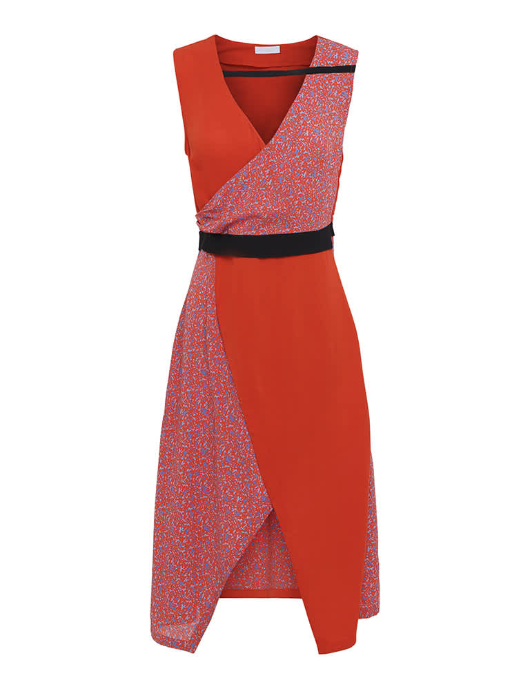 2nd Day 2ND Francine Camo sleeveless dress in Mandarin Red