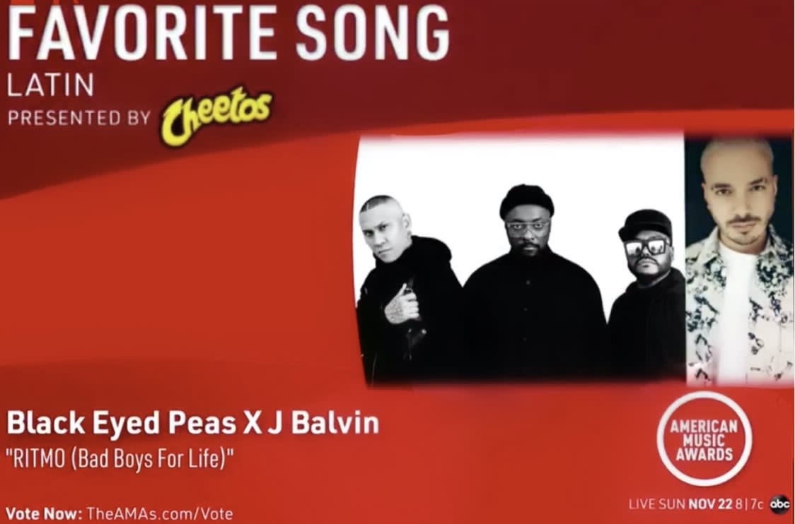 "Black Eyed Peas & J Balvin's ""Ritmo (Bad Boys For Life)"" nominated for an American Music Award"
