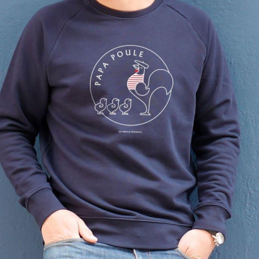 renommée mondiale dernière conception sélection premium Sweat-shirt Papa Poule 3 Poussins - Bleu -Personnalisation
