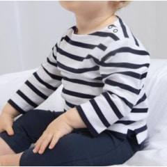 Horizontal navy/white striped Baby T-Shirt - Short or Long Sleeves - 3M to 24M