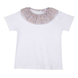 Girl Shirt Cotton White with Frill Collar - White embroidered OR Floral pink - 1Y to 10Y
