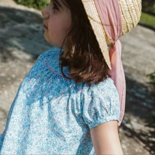 Girl Summer Straw hat - pink bow - 2Y to 7Y