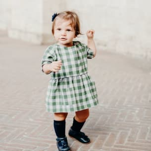 Venezia Robe Flannel à carreaux Vert et Gris