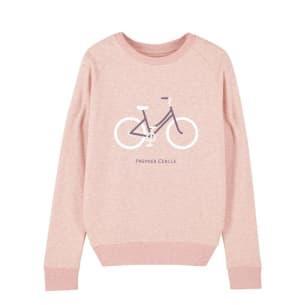 Vélo Sweatshirt Femme Rose chiné coton bio