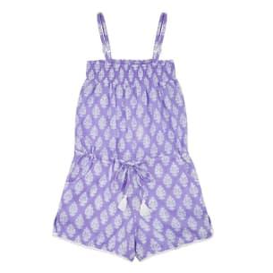 Girls Cotton Playsuit - Lavender - 100% Cotton - PS