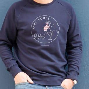 Sweat-shirt Papa Poule 3 Poussins - Bleu -Personnalisation