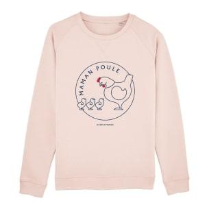 Maman Poule - 3 poussins - Sweatshirt Rose - Personnalisation