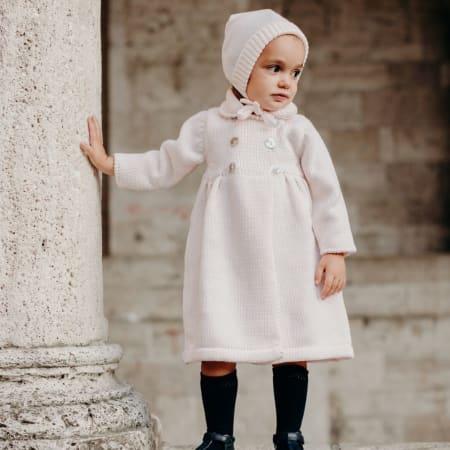 Manteau 100% laine merinos rose pale et béguin