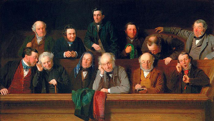 Jury trial processes have hardly changed in 100 years, but the jurors have. Source: Wikimedia