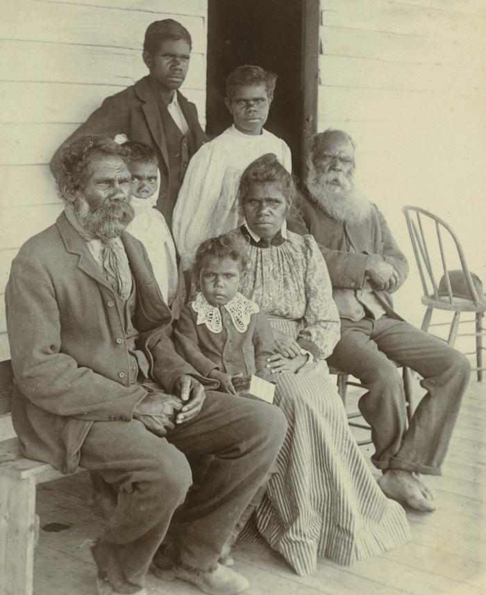 The Moffatt family, with Larry Johnston (old man on the right). Strathfieldsaye Estate Collection (1976.0013), University of Melbourne Archives, PA.198 p.8 (Ramahyuck Album 8.4.8)
