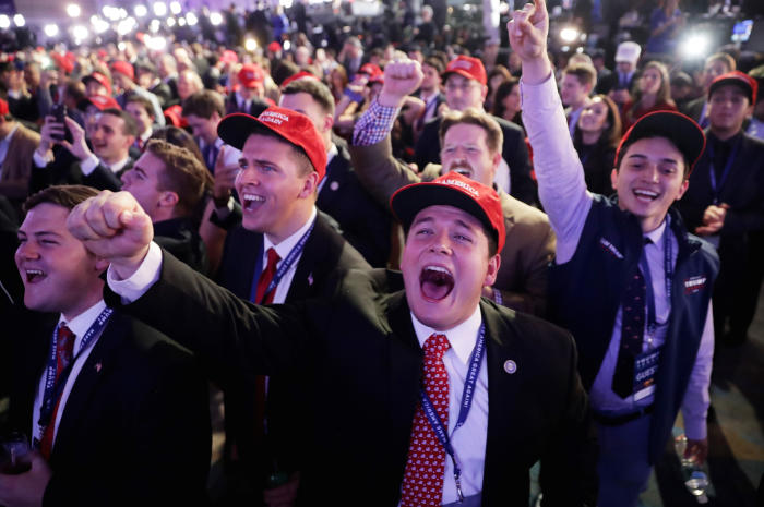 Trump supporters cheer as it becomes clear the Republican candidate is on the way to the White House. Picture: Chip Somodevilla/Getty Images