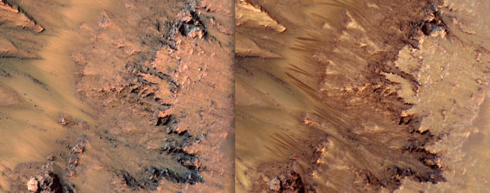 Before and after … dark streaks extend down the slopes of Newton crater (right) during the Martian spring and summer, before vanishing in the colder seasons. Picture: NASA
