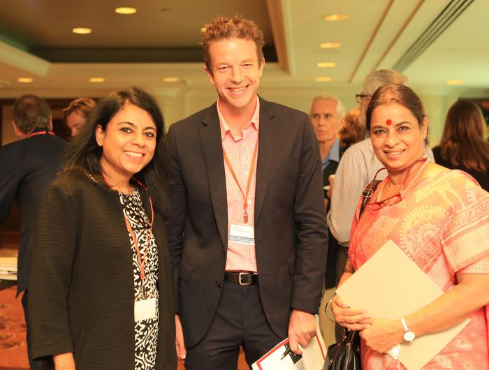 L-R: Mukulika Banerjee, London School of Economics; Craig Jeffrey, Director of the Australia India Institute; Ranjana Kumari, Director of Centre for Social Research, Delhi, India