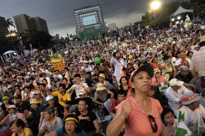 Opposition Democratic Progressive Party (DPP) demonstrators crowd the main city streets of Taipei in a strong show of disapproval of the current KMT-led government's economic policies. Picture: Alberto Buzzola/LightRocket via Getty Images