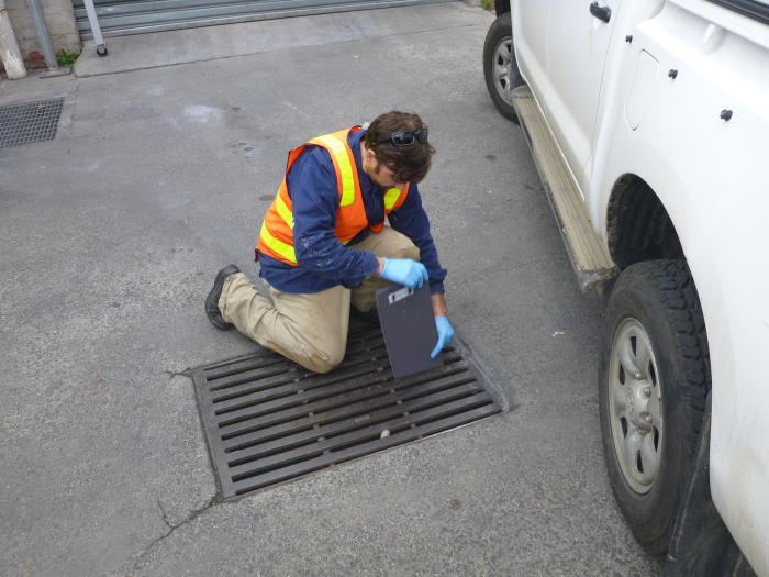 Cameron Amos testing a stormwater drain for pollutants. Image: CAPIM