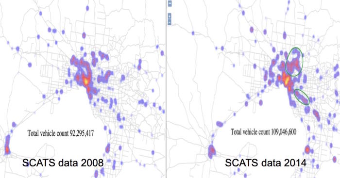 Melbourne traffic data mapped on AURIN showing increase in vehicle count 2008-2014.