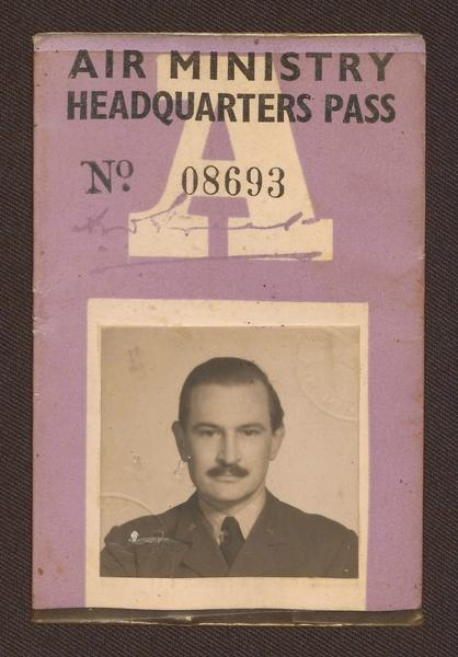 Oscar Oeser's wartime Air Ministry Headquarters Pass. Picture: University of Melbourne Archives, Papers of Oscar Adolph Oeser