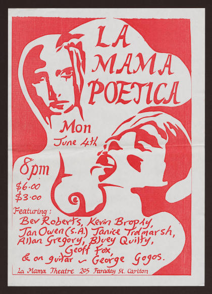 La Mama Poetica celebrates poetry and spoken word and remains a mainstay in the theatre's program. Picture: University of Melbourne Archives