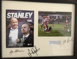 Framed print and programme of our famous 1-0 win over Burnley, signed by Coley, Sean Dyche and match-winner Matty Pearson!