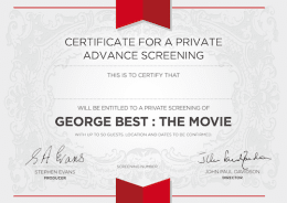 PRIVATE ADVANCE SCREENING + Q&A WITH FILM-MAKERS + Certificate + Screenplay