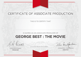 ASSOCIATE PRODUCER CREDIT + Certificate + Screenplay