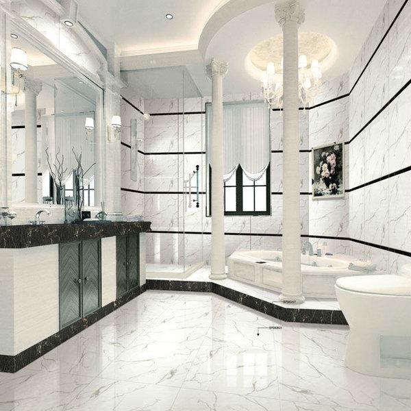 Carrara White Marble Effect 30cm X 60cm Polished Porcelain