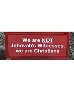 Not JW sign for the back of the Gospel cart red