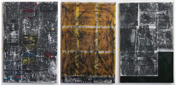 """""""An Injury to One is an Injury to All"""" Collaged Printouts, Graphite and Gel- 30"""" x 40"""" each"""