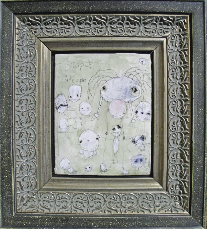 Stupid People  by R Campiglio, mixed media13x15 in framed 2014 hi