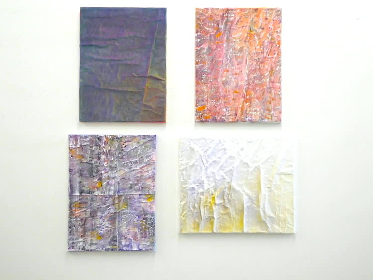 """Current Paintings__4 Paintings, 2018 - 19, Varnish, enamel, acrylic, gesso, paper on canvas, 24"""" x 18"""" and 20"""" x 24"""""""