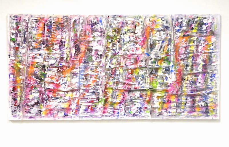 """Current Paintings __No.154 (Ornamented Realm), 2021, Aluminum enamel, enamel, acrylic, paper on canvas, 36"""" x 72"""" (two panels)"""