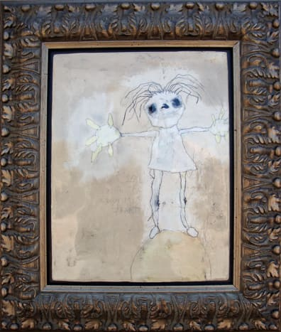 Girl with the Enormus Heart.  mixed media. 17x20 framed. 2009 (sold)