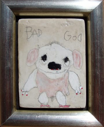 Bad God  mixed media 6x7 in framed 2009 (sold)