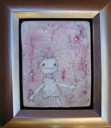 White Girl in a Dirty World mixed 5x6 in 2008 (sold)