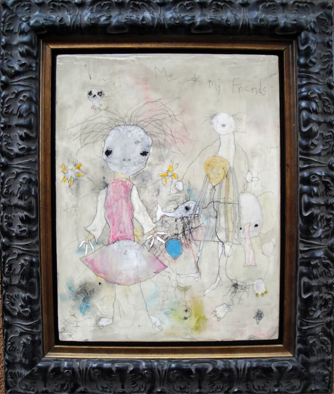 Me and My Friends, by Richard Campiglio 15x18 in framed mixed media 2013 (sold)