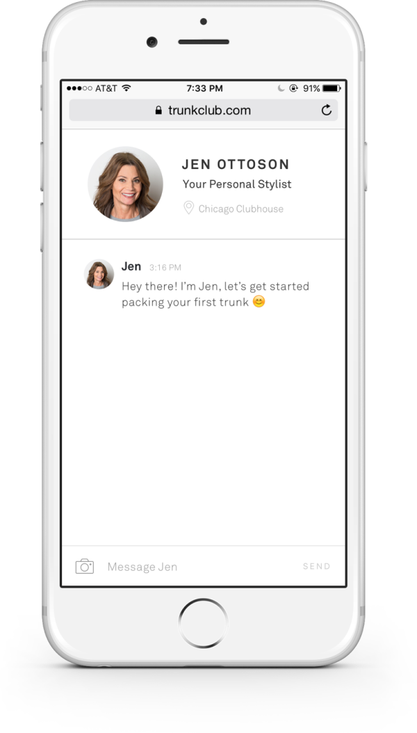 Chat with your stylist for a personalized shopping experience