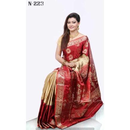 red golden +Soft Silk-Katan-Saree-N-223