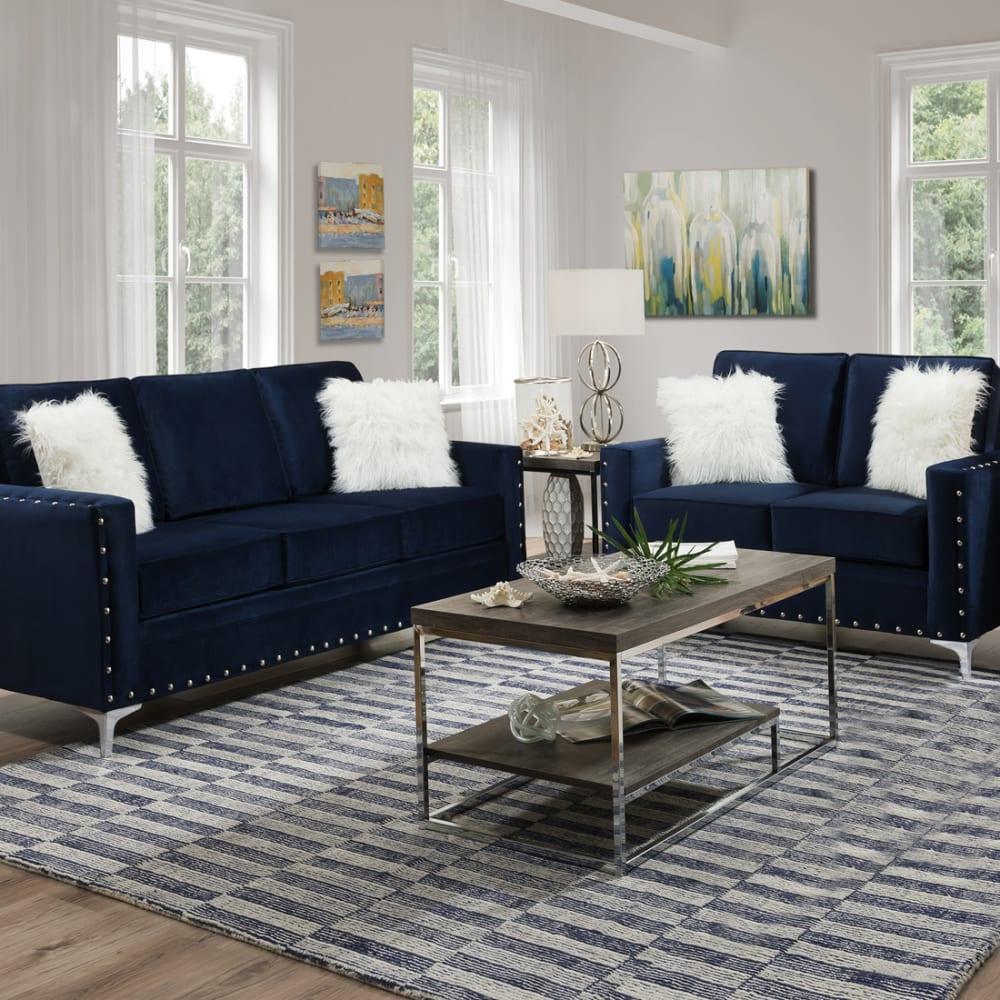 Adrian Blue 2PC Sofa & Loveseat Set