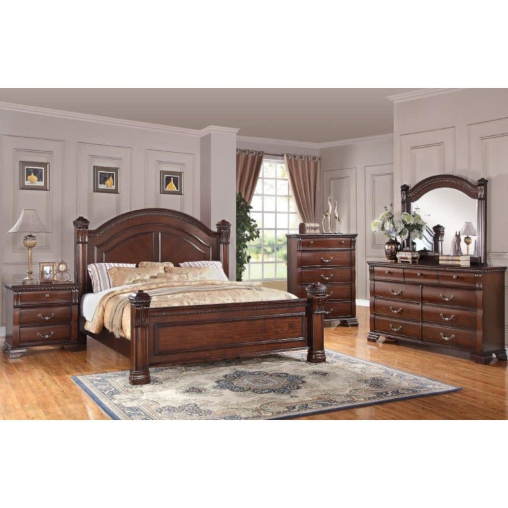 Vienna Bedroom - Bed, Dresser & Mirror - King - VIENNAKGBR
