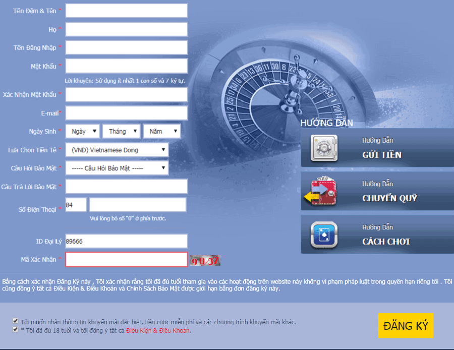 Mẫu đơn đăng ký m88