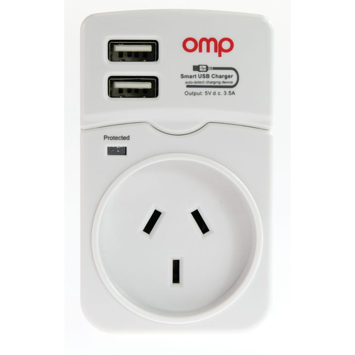 OMP Smart Charger with Surge Protection & 2 USB Ports
