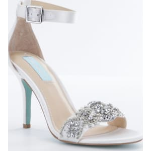 Blue by Betsey Johnson Gina Jeweled Printed Ankle Strap Dress Sandals LqZf774Rm
