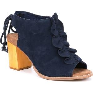 Toms Elba Ruffle Suede Wooden Block Heel Sandals