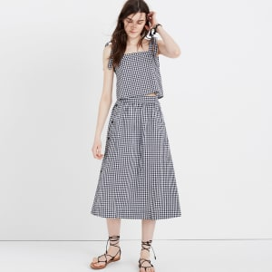624aa3491b04 Side-Button Skirt in Gingham Check from Madewell.
