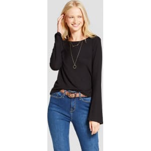 16261d13cf Women's Long Sleeve Rib Bell Sleeve T-Shirt - Mossimo Supply Co ...