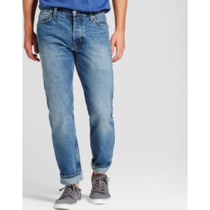 468a9711c30 Men s Slim Straight Fit Selvedge Jeans - Goodfellow   Co Medium Wash ...