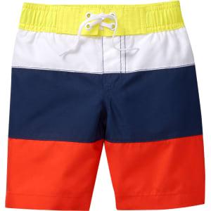 eee0ccc305545 Boy's Colorblock Swim Trunks by Crazy 8 - Orange Poppy by Crazy 8 ...