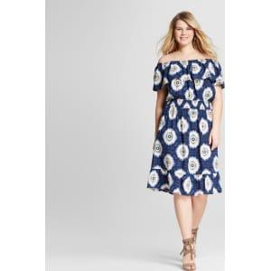Women\'s Plus Size Off the Shoulder Tie Dye Dress Blue 2x - U-Knit