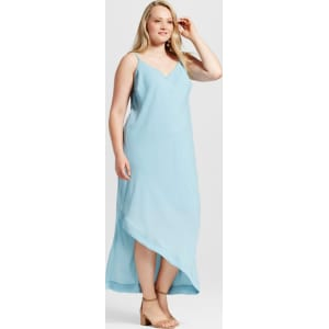 Women\'s Plus Size Detailed Back Maxi Dress - Notations - Blue 2x